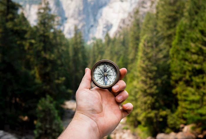 a hand holds a compass up to help navigate the woods ahead