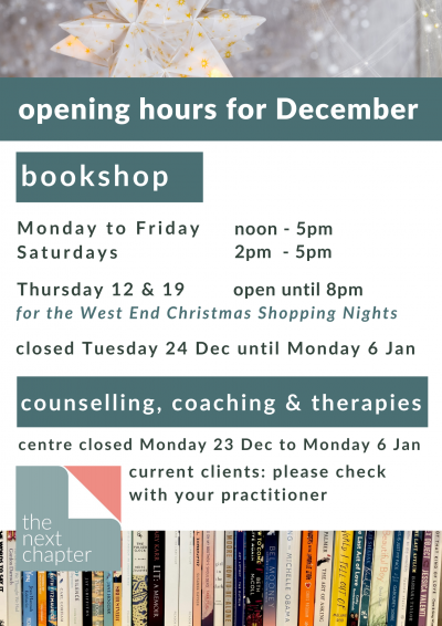 The Next Chapter December opening hours poster - info repeated in body text