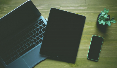 an iPad laptop and mobile phone