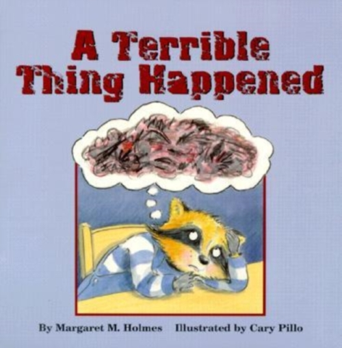 jacket for A Terrible Thing Happens, features a raccoon sitting in a sad pose, looking up at a dark, swirling cloud of a thought bubble