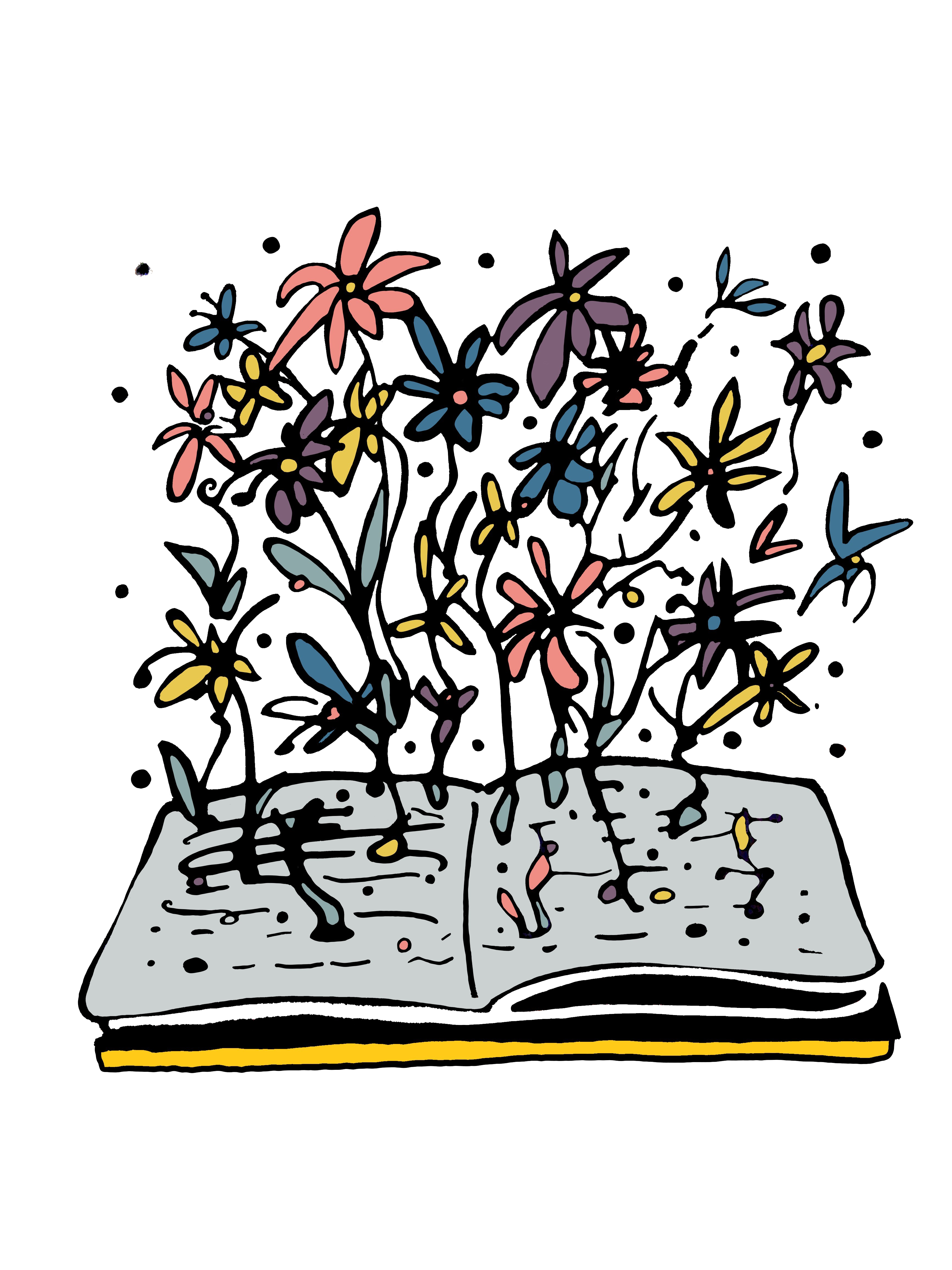 open book with flowers growing from the pages