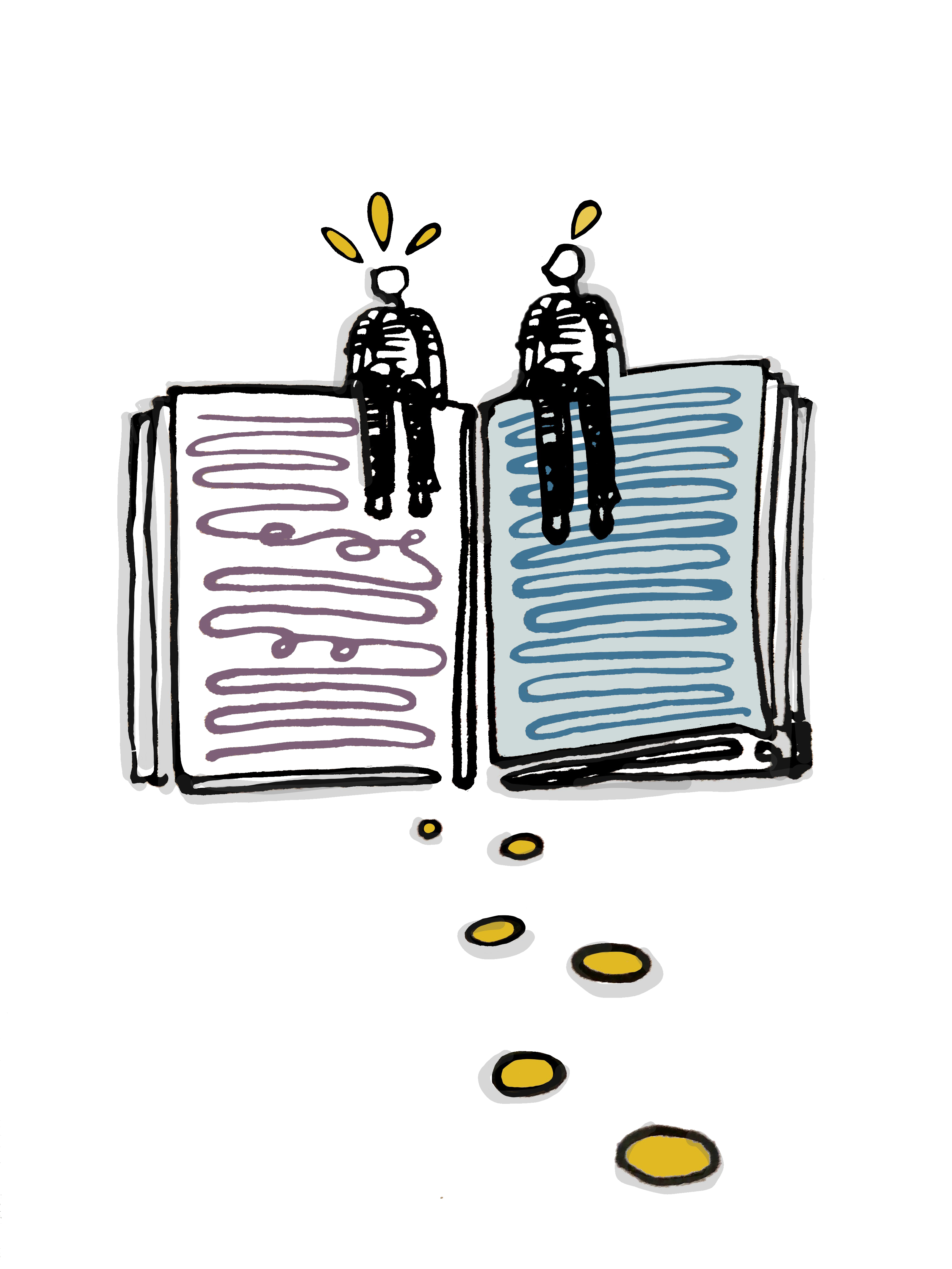 two figures sitting on an open book sharing ideas