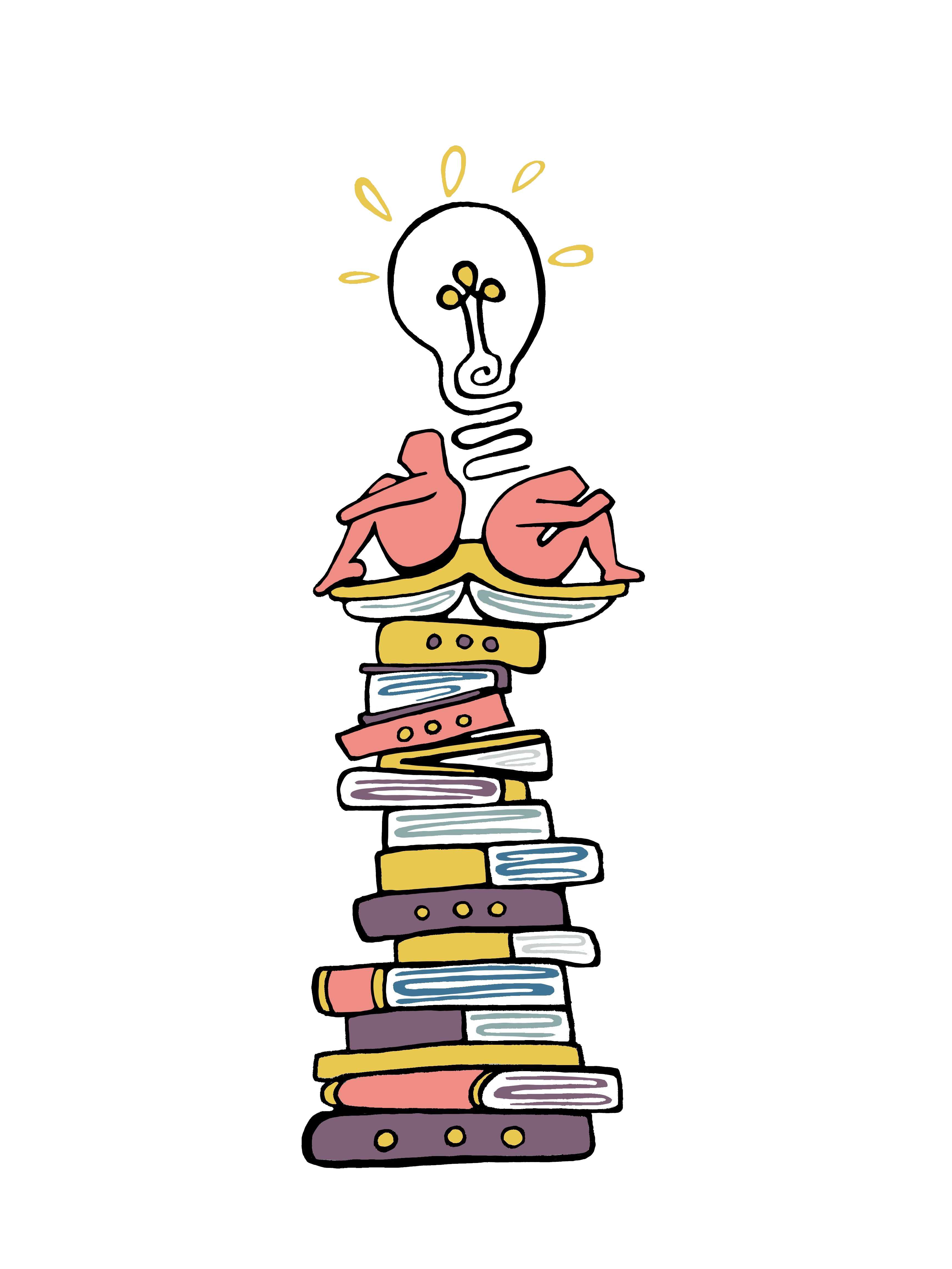 two figures sitting on a pile of books sharing a lightbulb thought