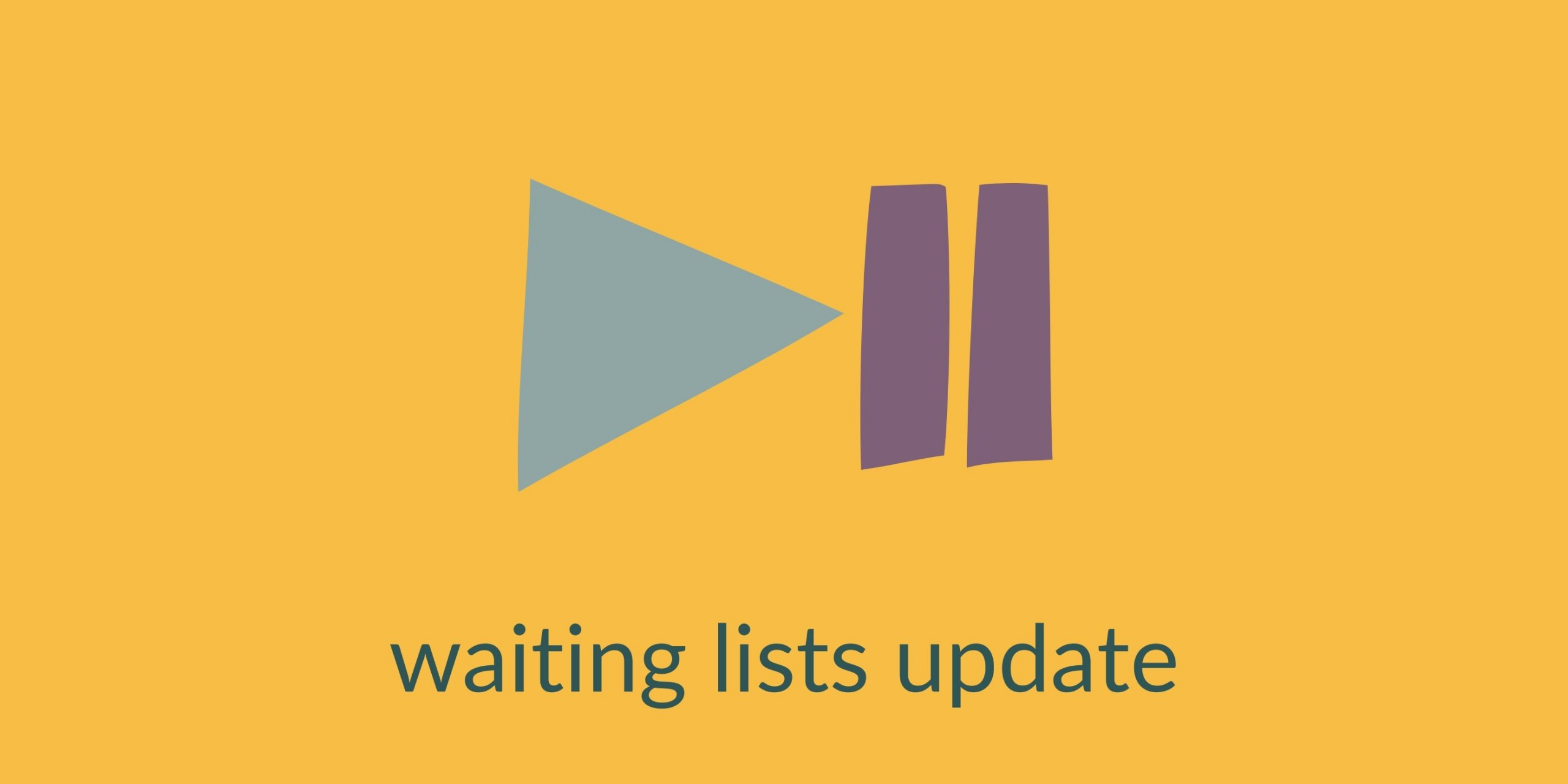play and pause symbols, text reads: waiting lists update