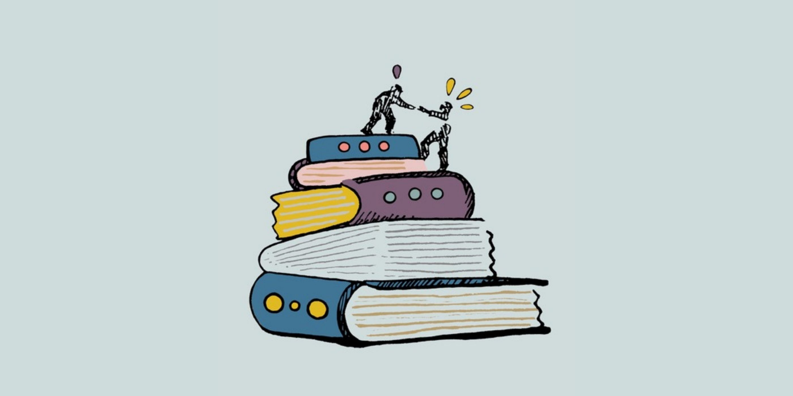 image shows a person helping another person climb to the top of a pile of books