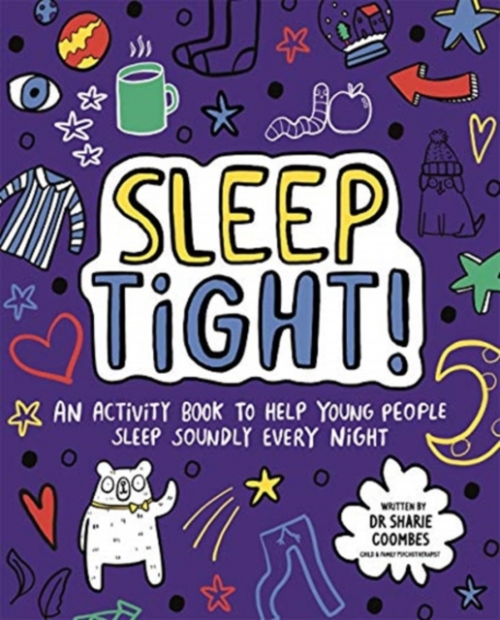 jacket for Sleep Tight features a cartoon bear and lots of night time-related things eg. a hot drink, pyjamas, stars and moon.