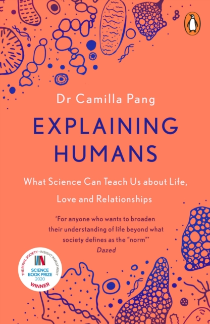 jacket for Explaining Humans - features drawings of microscopic biological materials - cells, DNA, mitochondria...