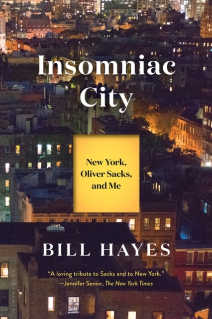 jacket for Insomniac City - features a skyline picture of New York at night, with lights on in many apartment windows