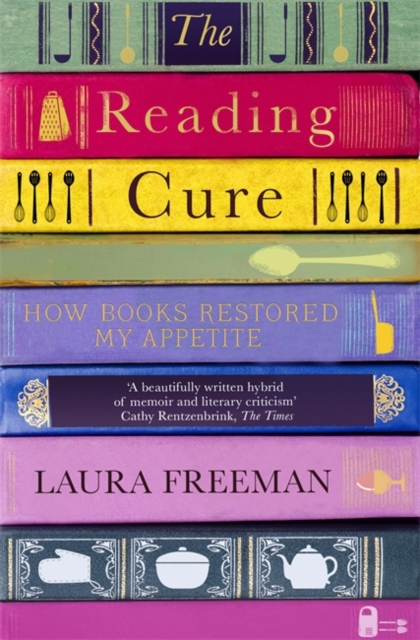 jacket for The Reading Cure, features a stack of books with kitchenware on the spines
