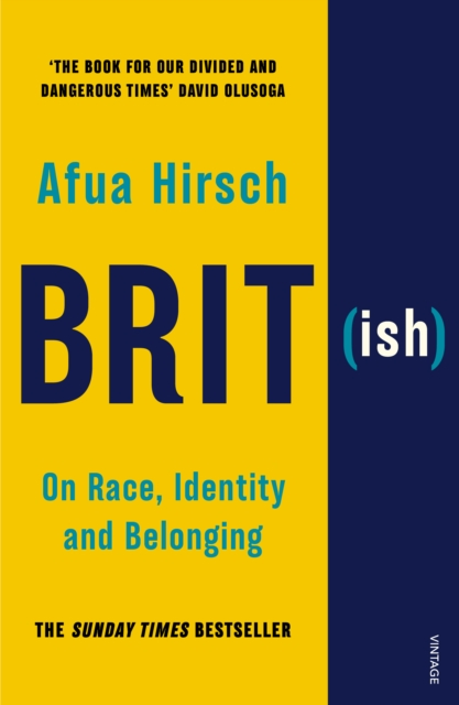Jacket for Brit(ish) - 'Brit' is in large letters on the yellow background, the 'ish' is a smaller qualifier on the contrast blue strip