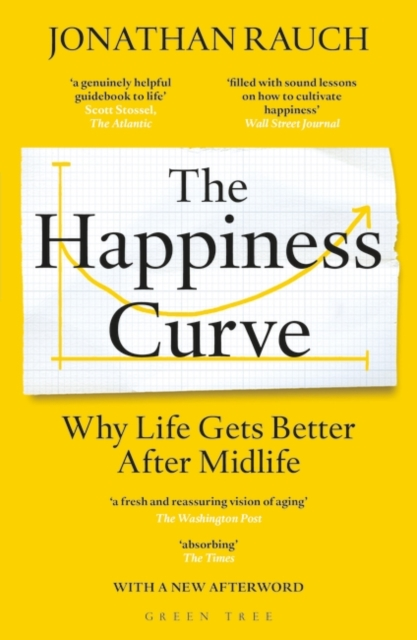 jacket for The Happiness Curve - features a graph with a u-shaped curve along the x axis