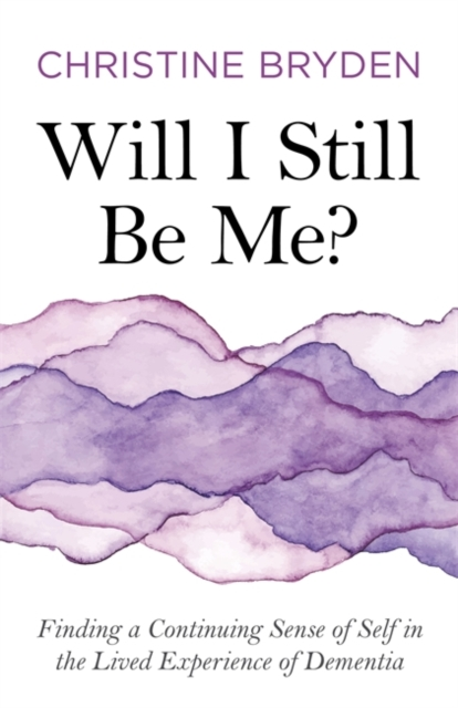 jacket for Will I Still Be Me - features waves of purple watercolour ink overlapping in different shades