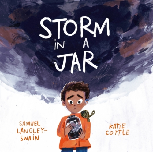 jacket for Storm in a Jar - features a child with a sad worried face holding a glass jar that contains dark, stormy weather, with another dig dark cloud overhead.